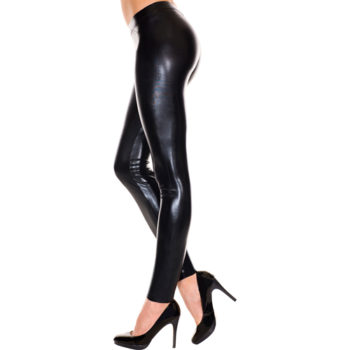 Leggings im Wetlook SCHWARZ