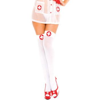 Krankenschwester-Look weißes Kreuz schenkellang WEIS ROT