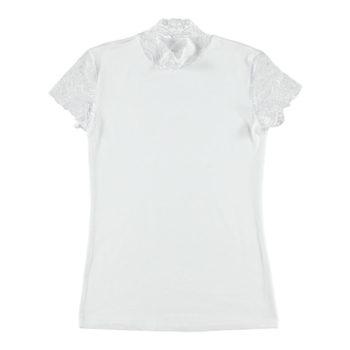 Shirt mit Spitzenärmeln - weiß