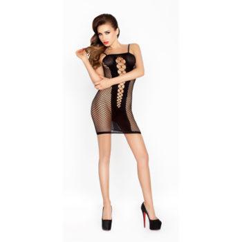 Durchsichtiges schwarzes Kleid mit offenen Seiten
