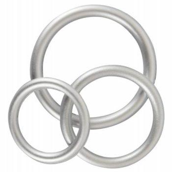 Penisring-Set aus Silikon - Metallic