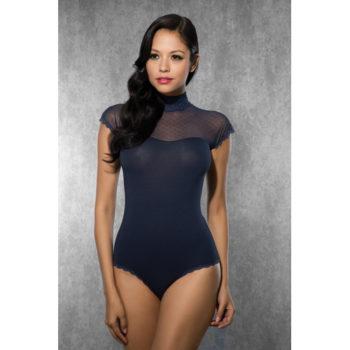 Damen-Body mit Netzstoff - Dunkelblau