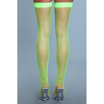 Halterlose Nylon-Netzstrümpfe - Neongrün