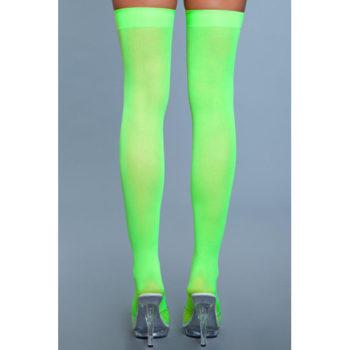 Halterlose Nylonstrümpfe - Neongrün
