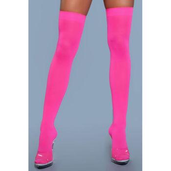 Halterlose Nylonstrümpfe - Neon Pink