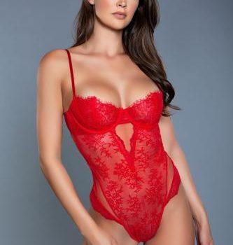 Ariella Spitzen-Bodysuit - Rot