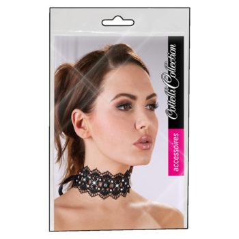 Stickerei-Halsband mit Strass in Schwarz