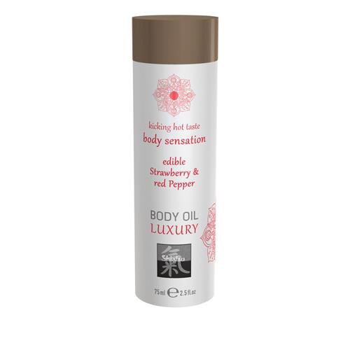Luxus-Körperöl essbar - Erdbeere und roten  Pfeffer