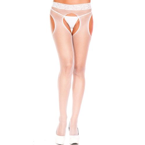 Netzstrumpfhose mit offenem Schritt - Weiß