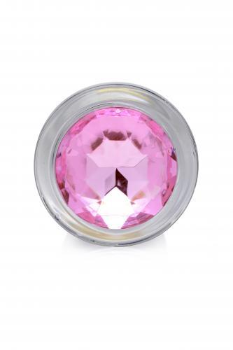 Pink Gem Glas-Analplug mit Schmuckstein - Mittelgroß