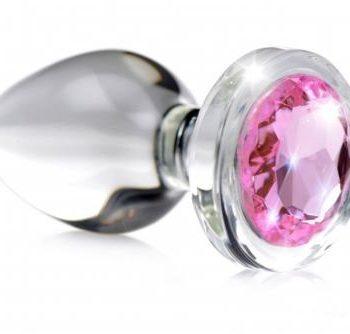 Pink Gem Glas-Analplug mit Schmuckstein - Klein