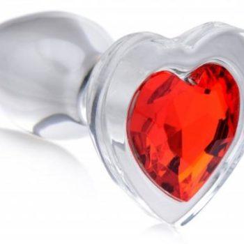 Red Heart Glas-Analplug mit Schmuckstein - Groß