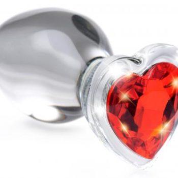 Red Heart Glas-Analplug mit Schmuckstein - Mittelgroß