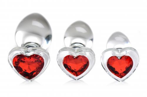 Red Heart Analplugset aus Glas mit Schmuckstein