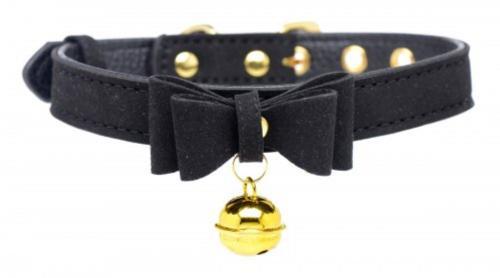 Golden Kitty Halsband mit Katzenglocke - Schwarz/Gold