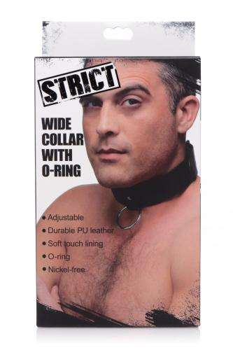 Schwarzes veganes Halsband mit Ring