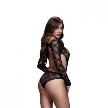 Baci - Spitzen-Bodysuit mit offenem Rücken - Schwarz