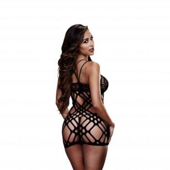 Baci - Sexy durchsichtiges Kleid mit Spitze - Schwarz