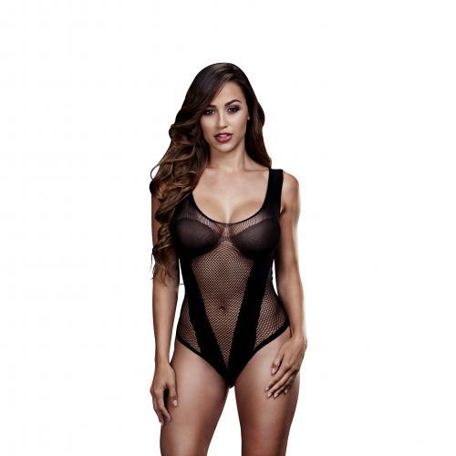 Baci - Durchsichtiger Netz-Bodysuit - Schwarz