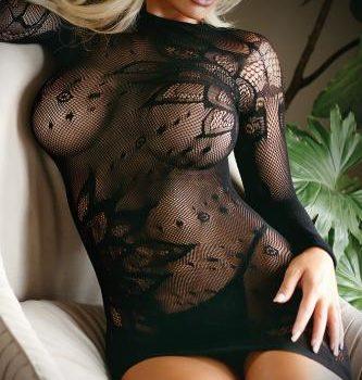 Minikleid aus Mesh-Stoff mit String - Schwarz