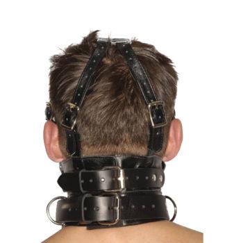 Streng aussehender Premium-Maulkorb aus Leder mit Augenbinde und Knebel