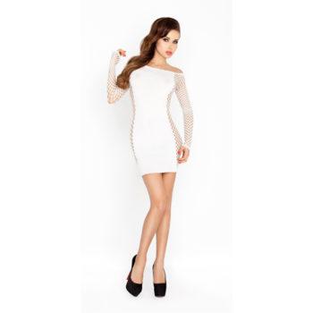 Weißes Minikleid mit Netz-Ärmeln