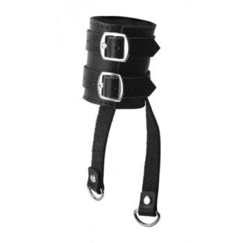 Harness aus Leder mit 2 Zuggurten für Hoden